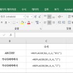 엑셀 / 함수 / REPLACE, REPLACEB / 특정 위치의 문자열을 바꾸는 함수